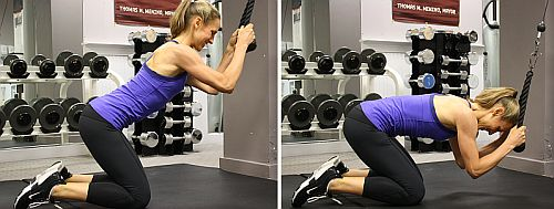 cable crunch exercise on functional trainer