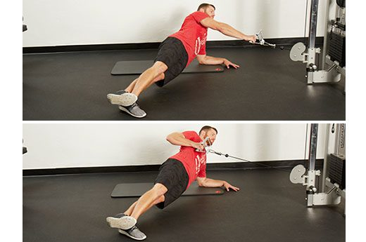 side plank cable row