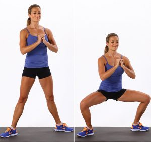sumo squat moving from side to side in squatting position